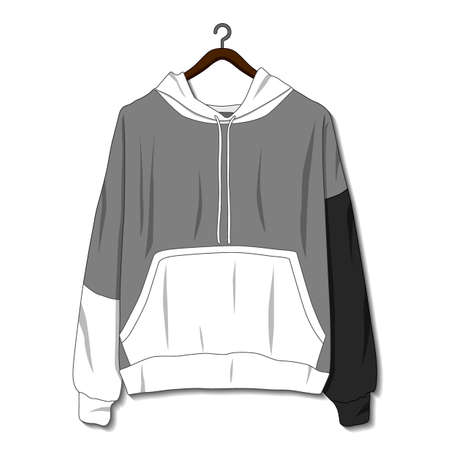 Hoodie jacket isolated on white background. Mockup template