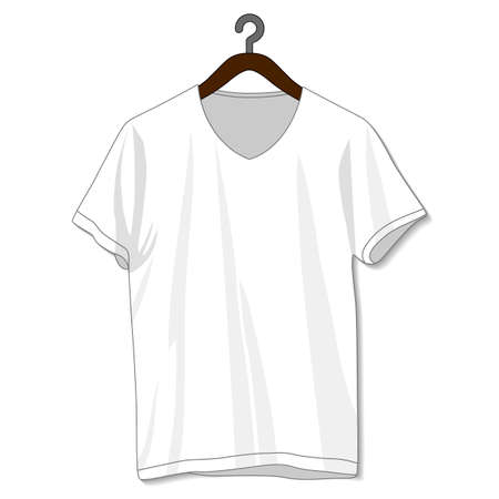 Blank White V-Neck T Shirt For Template.Front And Back Look Illustration