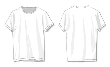 Blank white t-shirt template. Front and back