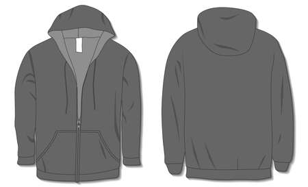 Hoodie jacket with zipper. Mockup template Illustration