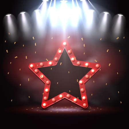 Illustration of Star background illuminated by spotlights