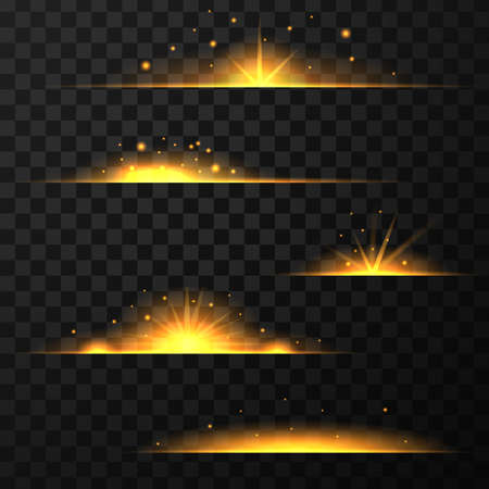 Gold light effect isolated on transparent background