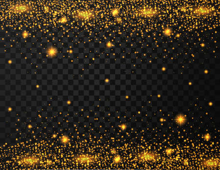 Gold glitter texture on transparent background Standard-Bild