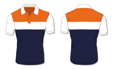 Striped Polo Shirt Template Illustration