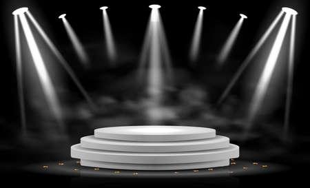 Realistic Stage Podium With Elegant Lighting Spotlight
