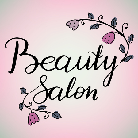 Hand written logo beauty salon decals, label, badge or emblem. Adorned with painted flowers and plants that can be separated from the labels and used separately.