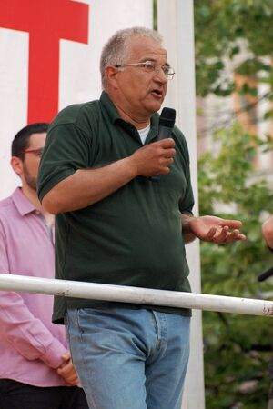political party: A political makes a speech in Novi Sad on 2nd May 2012. He is from political party Dveri. Editorial