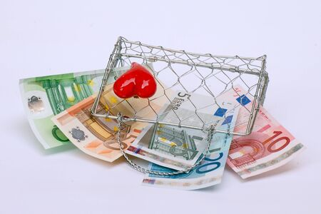 It's a lady's little purse woven wire mesh with euro. Stock Photo - 13842736
