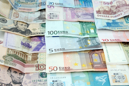 Different banknotes  serbian dinar, hungarian forint, russian ruble, american dollar, european euro    photo