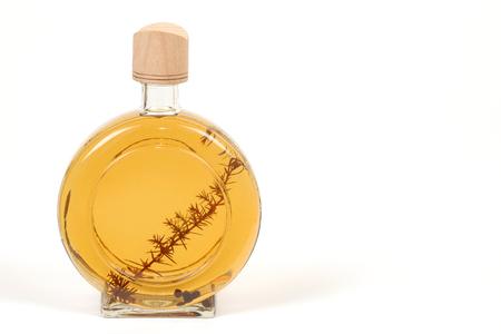 alcoholic beverage: Alcoholic beverage in bottle of brandy on white background.