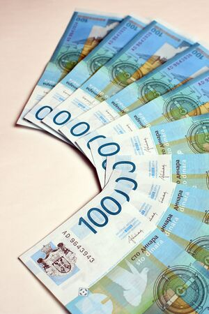 serbian: Hundred serbian dinars are on white background.