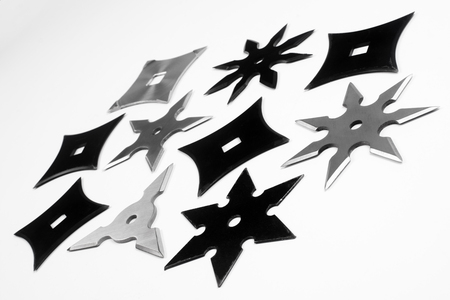 shuriken: The different shurikens are on white background. Stock Photo