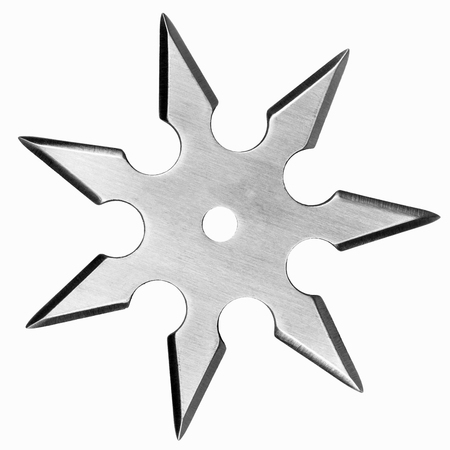 shuriken: Silver colored metal shuriken isolated on white background.