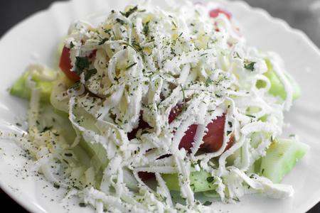 serbian: Serbian traditional food, salad with feta cheese.