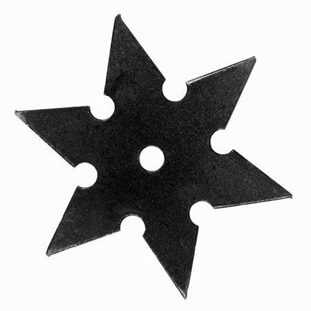 shuriken: Black shuriken with star shape isolated on white background. Stock Photo