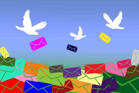 White doves are bringing too much colorful letters, unread messages.