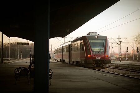 Train is standing on railway station in Novi Sad in Serbia and ready for going on.