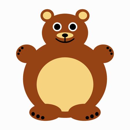 Symmetrical cute brown bear illustration for children on white background.