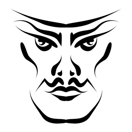 Confident handsome male face with mustache ink, front view vector.  イラスト・ベクター素材