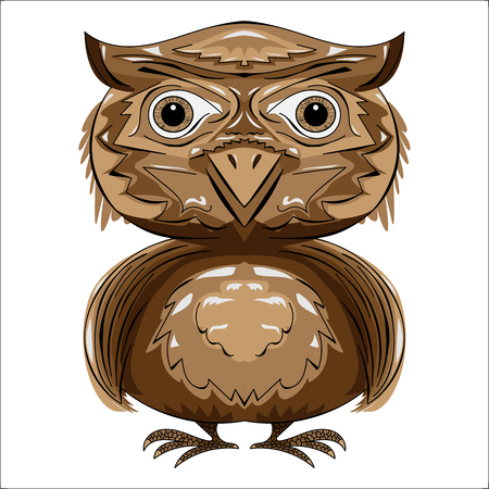 Stylized brown owl symmetrical front view vector. Ilustracja