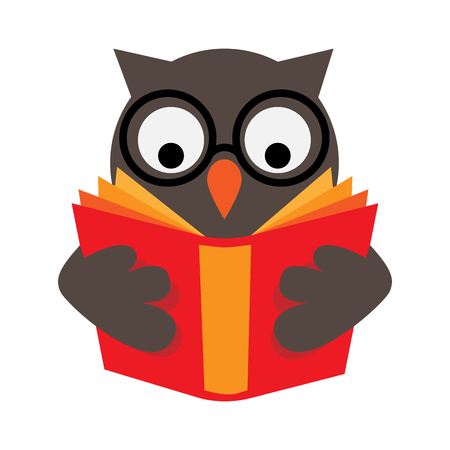 Owl with eyeglasses is reading red book, wisdom and education concept and symbol.