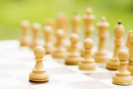 Pawn chess piece and other white chess pieces are on chess board on green background. 写真素材