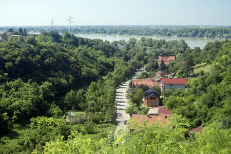 Landscape of Serbia with greenery and Danube river, hilly nature.