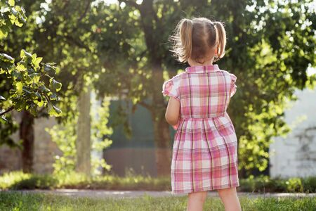 The cute little girl in pink dress is standing on the street outdoors, rear view or back view.