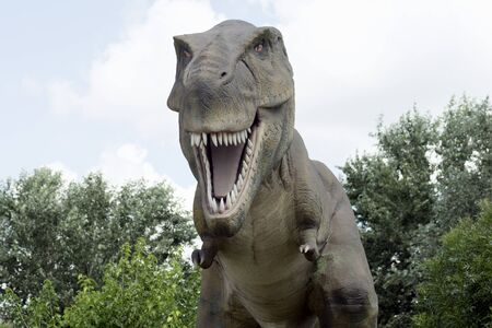 The ancient extinct yrannosaurus rex dinosaur is outdoors in nature. 写真素材