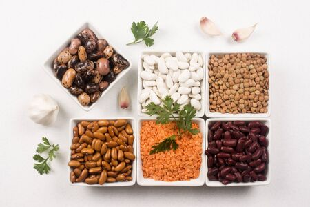 Group of legumes, beans and lentils as food ingredients on white background. 스톡 콘텐츠
