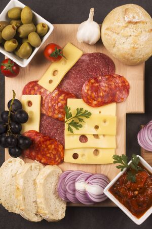 Gourmet appetizer or breakfast platter with garnish in restaurant, food service industry and catering concept.