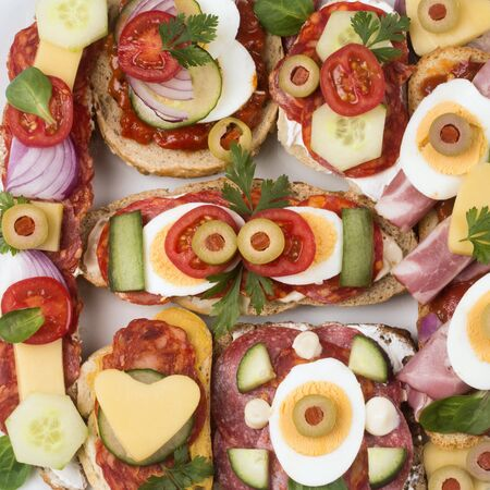 Top view close-up photo of different decorated sandwiches as appetizer.