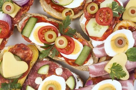 Top view food photo of colorful delicious sandwiches. 스톡 콘텐츠