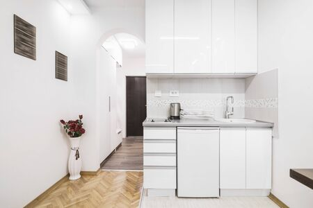 Modern small white kitchen home interior in apartment.