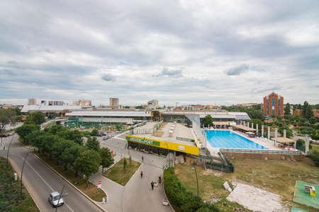 Urban cityscape of SPENS building complex in Novi Sad in Serbia.