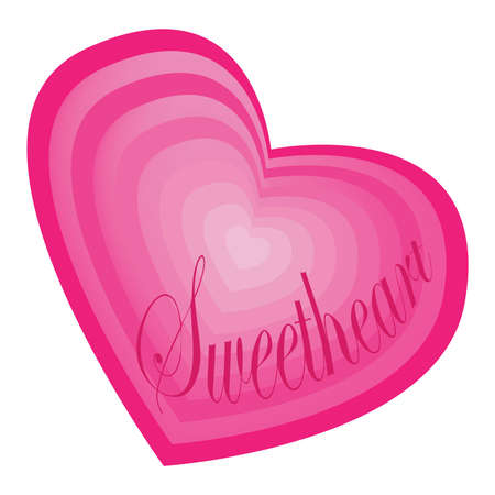 Sweetheart text in layered pink heart shape, symbol of love and romance. 写真素材