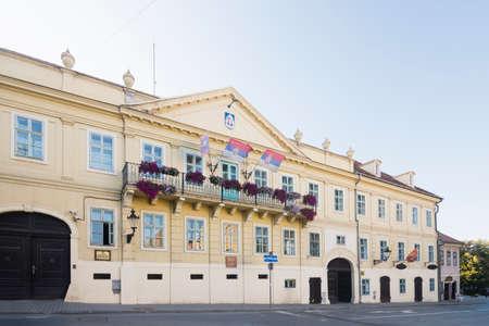 Building exterior of City Hall in Sremski Karlovci in Serbia.