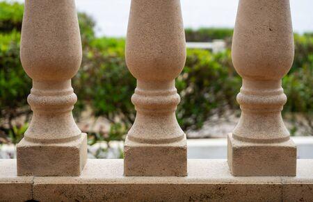 stone balustrade on covered terrace facing outside Stockfoto