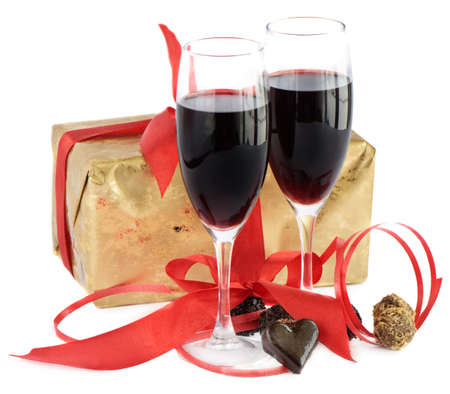 wine and food: Red wine,gift and  chocolate Stock Photo