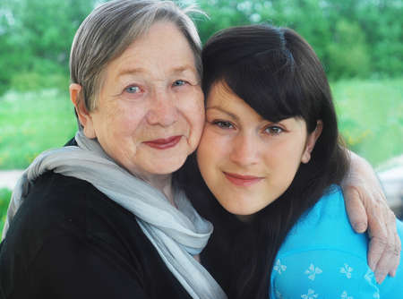 grand daughter: Happy grandmother and grand daughter