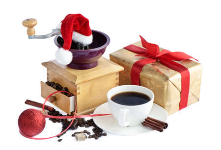 Christmas coffee isolated on white  photo