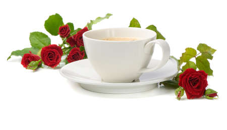 Coffee and roses isolated on white