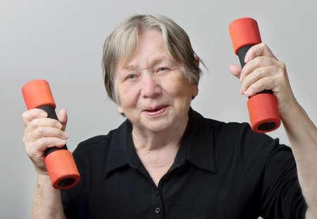ady: portrait of active senior woman Stock Photo