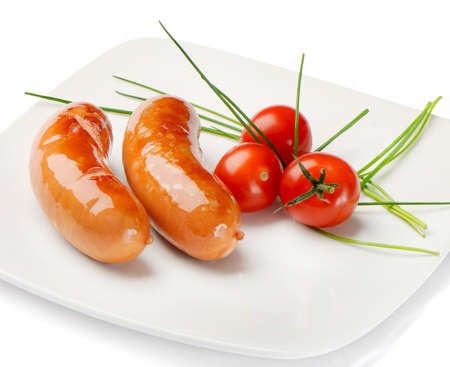 sausage with tomatoes Stock Photo