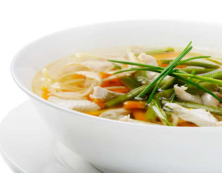 broth: Bowl of Chicken vegetable Soup  Stock Photo