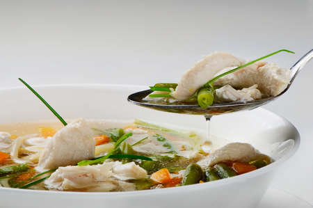 Bowl of Chicken vegetable Soup  Stock Photo - 11060588