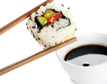 sushi plate: sushi on chopstick Stock Photo
