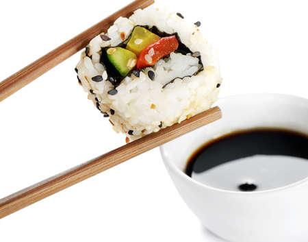 sushi on chopstick Stock Photo