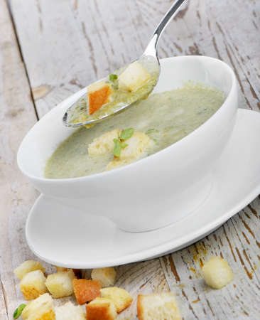 Delicious creamy vegetable soup photo