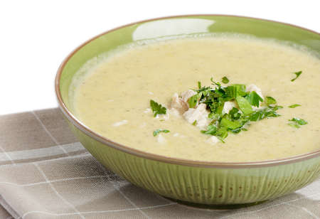 creamy soup with parsley Stock Photo